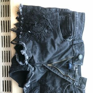 Black lace American eagle shorts